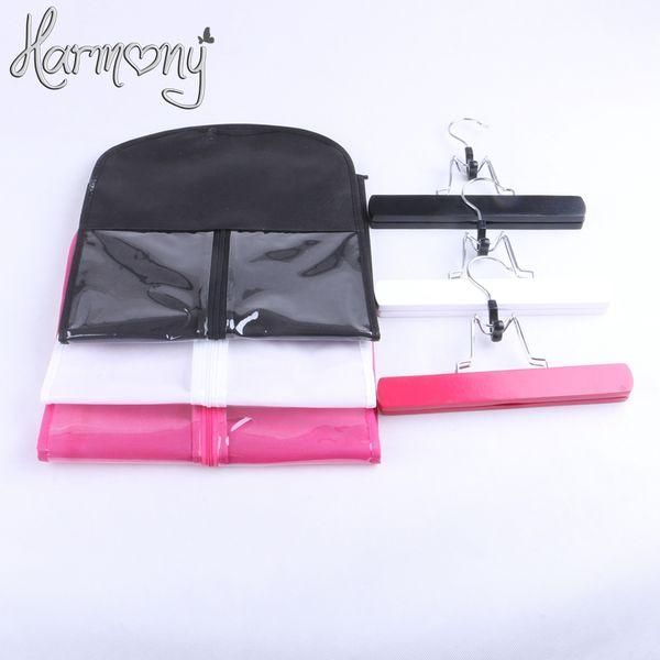 3 sets(3 bags+3 hanger) black pink white Hair Extension Carrier Storage Suit Case Bag Dust Proof Hair Extensions Bag