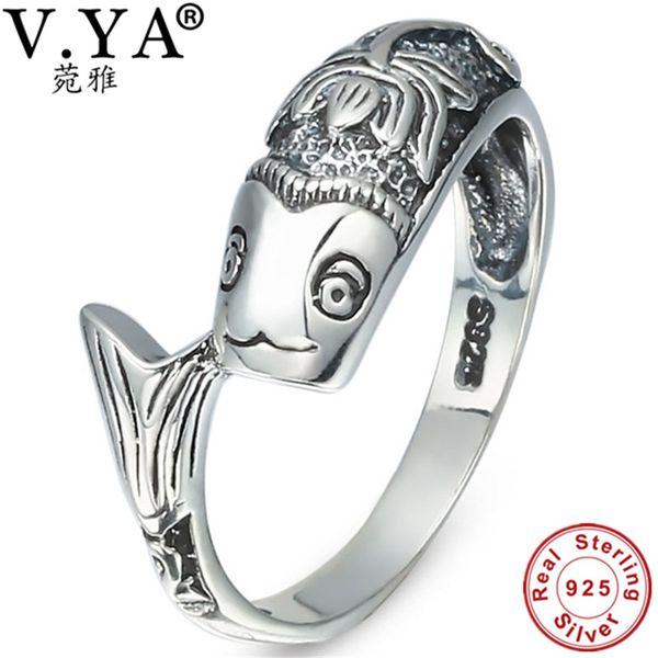 100% Real Pure 925 Sterling Silver Ring anel de peixe clássico para as mulheres Por Atacado Jóias Finas frete grátis Homens Jóias WR20039