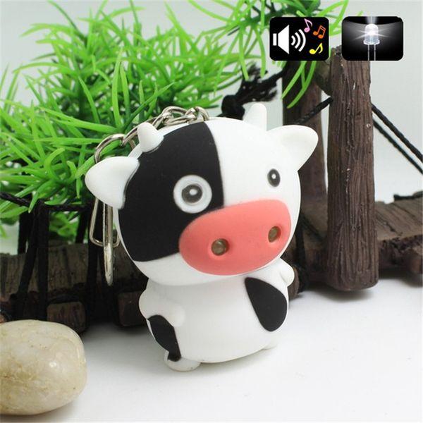 Cartoon Cute Cow LED Keychain With Sound Flashlight Kid Emergency Torch Animal Keyring Mini keychain H320