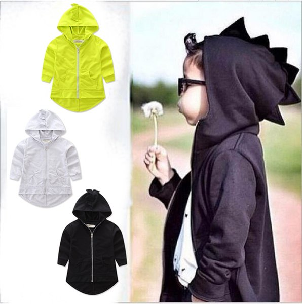 top popular ins 2017 new spring and autumn Child dinosaur coat hoody 2 color cartoon ins Child dinosaur coat hoody 2019