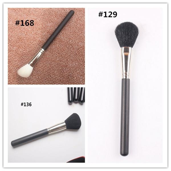 Hot makeup M Brand Makeup brush #129/#136/#168 Large Powder/Blusher Brush Soft Hair Black Handle makeup tools Top Qualiry DHL shipping
