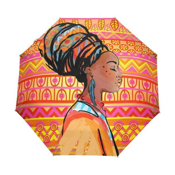 African Women Windproof UV Umbrellas Three Folding Automatic Sun Umbrella with Black Coating for Business Paraguas