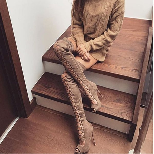 Roni Bouker Women Tight High Knee Shoes Suede Leather Handmade Peep Toe Lace-up Roman Style Ladies High Heels Gladiator Sandals