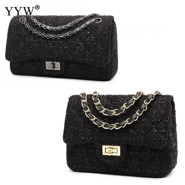 YYW Woolen Lady Easy Matching Shoulder Bag High Quality Crossbody Bag Different Size Evening Bags Solid Black Bags For Women