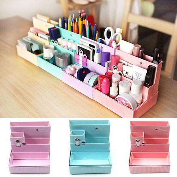 Random Color!!! Hot Sale DIY Paper Board Makeup Cosmetic Storage Box Container Desk Decor Stationery Case Organizer Top