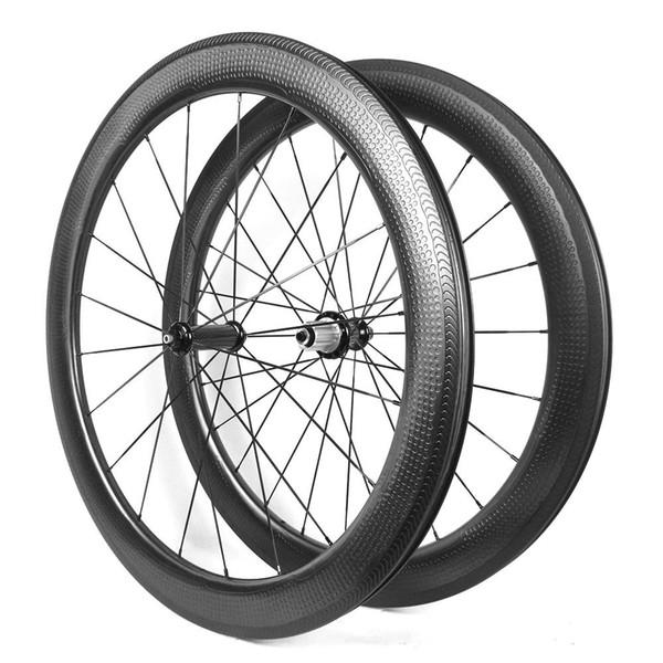 1 pc 700C Dimple surface carbon road bike rim 58mm depth clincher 25mm wide 24H