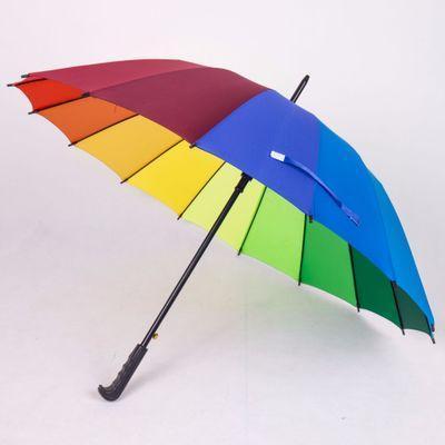 레인보우 우산 블랙 레드 롱 손잡이 16K 스트레이트 Windproof 다채로운 명주 우산 여성 남성 Sunny Rainy Umbrella