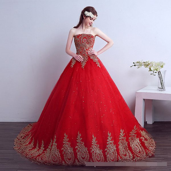 luxury wedding dress 2018 Free Shipping Vintage Lace Red Wedding Dresses Long Train Plus Size Ball Gown Robe de Mariee pincess