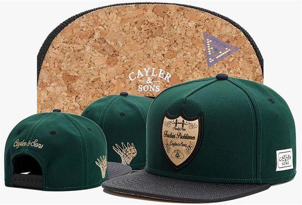 Summer Style Cayler Fils Vert Fuckin Problèmes Os Gorras Baseball Sport Caps Hommes Womens Classique Réglable Snapback Chapeaux En Gros