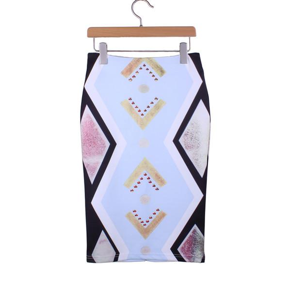 0e371d9d7 Compre Precio Más Bajo Venta Geométrica Impresión Niñas Falda Media Faldas  Lápiz Mujeres 2016 De Moda De Moda De Moda De Las Señoras Delgados ...