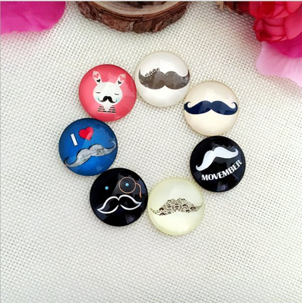 50pcs 2018 HOT selling Dramatic beard glass Snap button Charm Popper for Snap Jewelry picture pendant