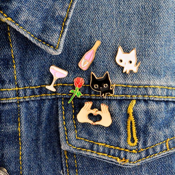 Teile Satz Zubehör Katze Weinglas Broschen Pin 6 Cartoon Jacke Emaille Revers Abzeichen Von Rose Großhandel Schwarz Weiß Pins Harte Rucksack Herz K1J3lTFc