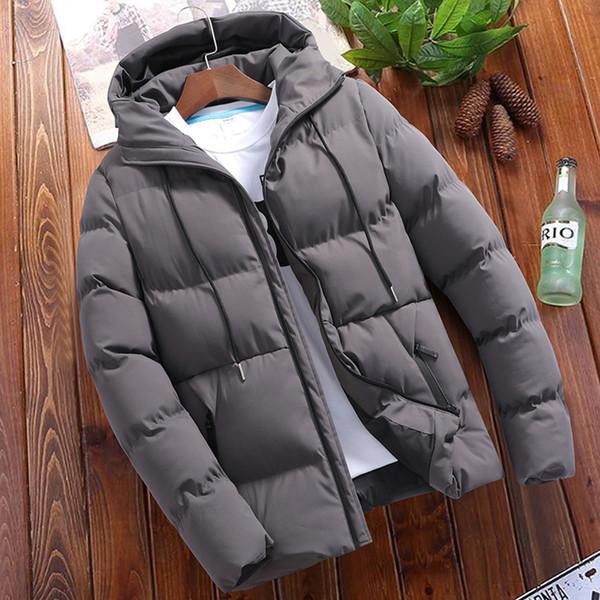 Winter Männer Jacken 2018 Neue Casual Plus Size Reißverschluss Parkas dicke warme einfarbig grau schwarz weinrot mit Kapuze Mantel und Jacke