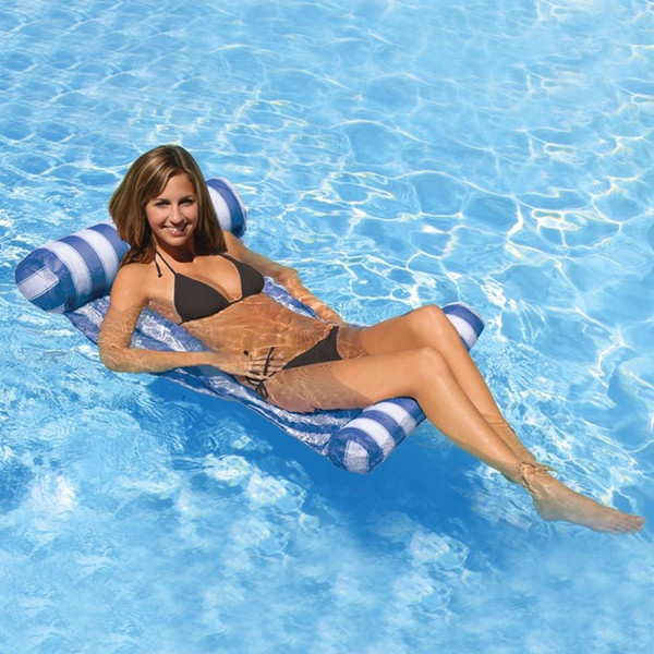 3 Colors Summer Swimming Pool Inflatable Floating Water Hammock Lounge Bed Chair Summer Inflatable Pool Float Floating Bed