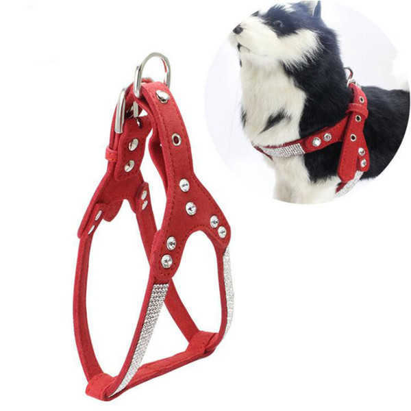 Soft Leather Dog Harness and Leash Set Rhinestone Puppy Vest With Crystal Bone Pendant For Small Medium Pets