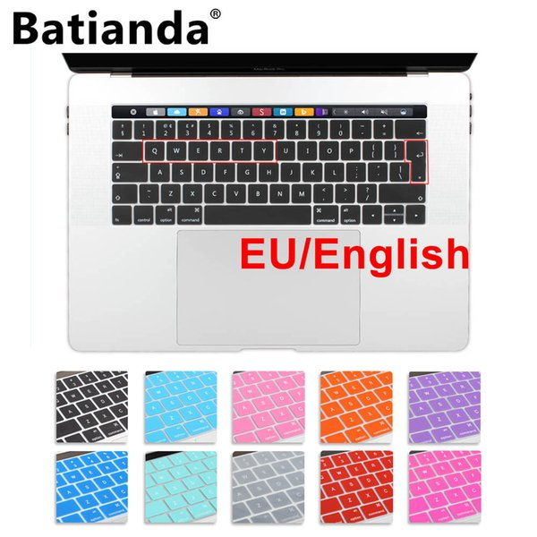 Silicone EU/UK English layout Keyboard Cover Stickers Protector for 2016 /2017 New MacBook Pro 13