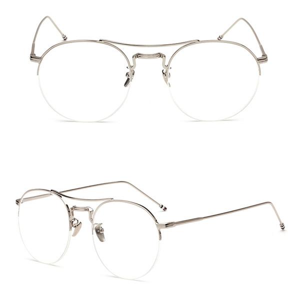 2dd0e1ce7c0 2018 Fashion Vintage Women Men Glasses Frames Round Eyeglass Frame Half Rim  Glasses Lens Spectacles Eyewear oculos de grau