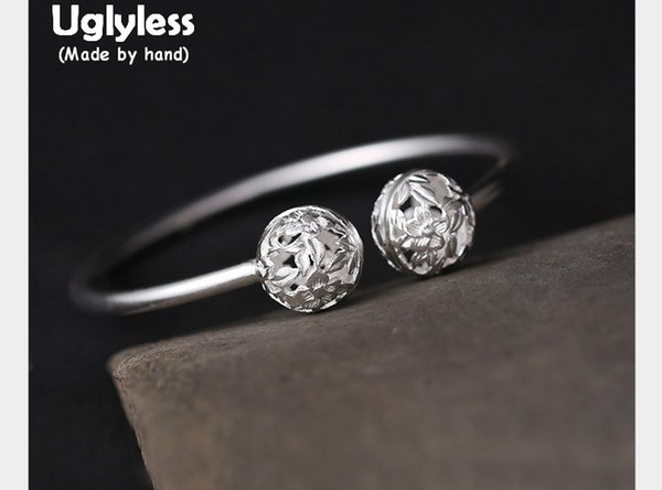 Uglyless Real S990 Silver Hollow Balls Opening Bangles for Women Fine Jewelry Handmade Engrave Flowers Ethnic Thin Bangle Bijoux