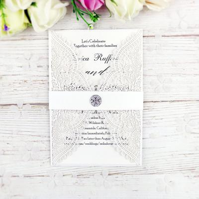 New Style Personalized Free Print Laser Cut Cards With Crystal High Quality For Engagement Party Wedding Invitation With Envelopes Sealed Online