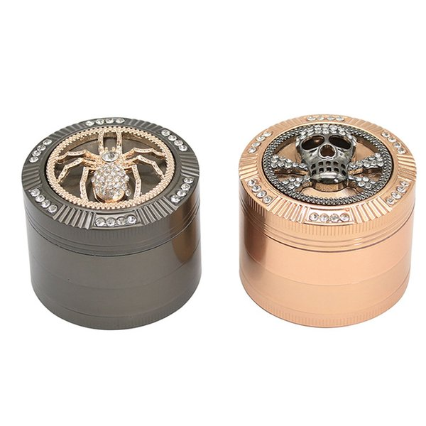Tobacco Grinders Tools 53mm 4 Layer Dry Herb Smash Metal Manual Rainbow Animal Pattern Skull Frog Spider For Sale Screen Pipe Free Shipping