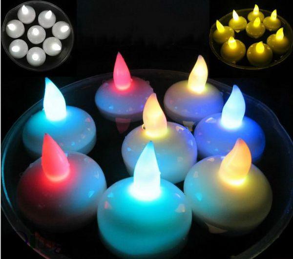 Flotante LED Tealight Velas de té Impermeable sin llama Lámpara de luz LED bombilla para boda Decoración de la fiesta de cumpleaños