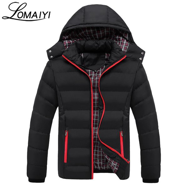 LOMAIYI NEW 2017 Casual Mens Winter Jackets Removable Windproof Hooded Parka Men Fashion Zipper Black Padded Jacket Coat,BM130 C18111201