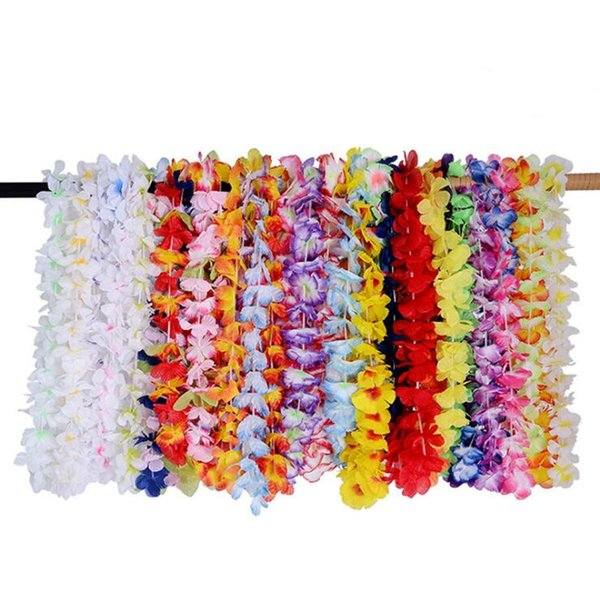 2018 Colorful Hawaiian Leis Flower Garland Necklace Hawaii Floral Wreath Beach Holiday Party Favor Dress Decor