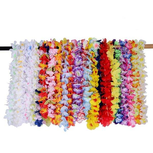 2018 coloré hawaïen leis fleur guirlande collier hawaii couronne florale plage vacances parti faveur robe décor