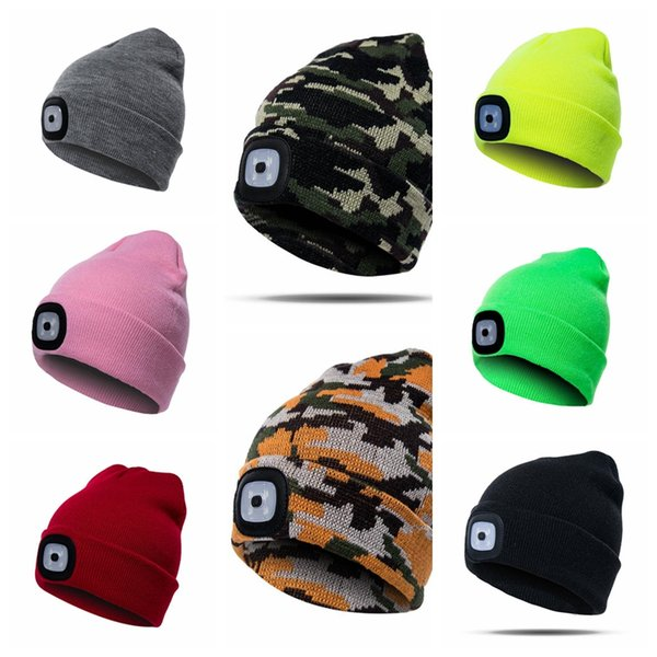 17 Colors LED Light Warm Hat Battery Type Winter Beanies Fishing Camping Cap Knitted Hat Camping Outdoor Crochet Hat CCA10320 300pcs