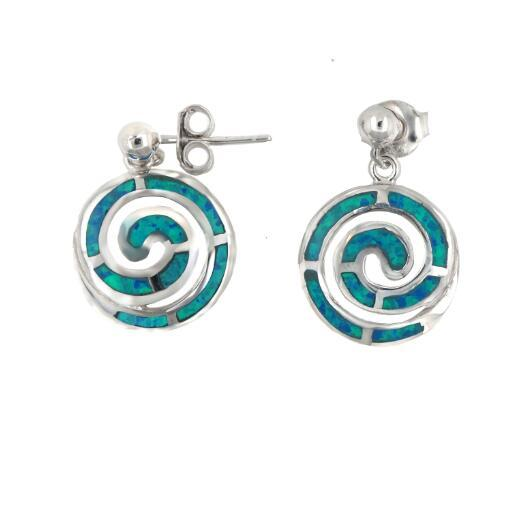 Women's Fashion White Gold Plated 925 Sterling Silver Synthetic Blue Fire Opal Swirl Charm Drop Earring for Holiday Jewelry