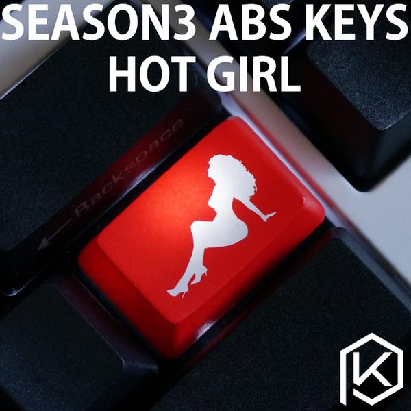 Keycaps sayesinde Yenilik Parlaklık ABS Kazınmış, Parlaklık-Sıcak kız siyah kırmızı özel mekanik klavyeler