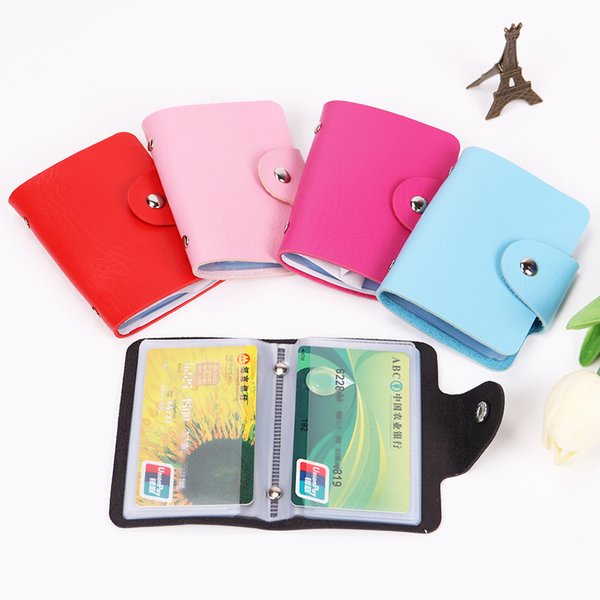 24 Card Slots Double Sided Plastic Card Holder Multicolor PU Leather Hasp Unisex ID Holders Package Business Bus Bank Credit Card Package