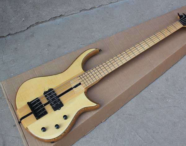 2018 Factory Custom 5 Strings Natural Wood Color Electric Bass Guitar with Ash Body and Maple Neck,Black Hardware,Good Quality