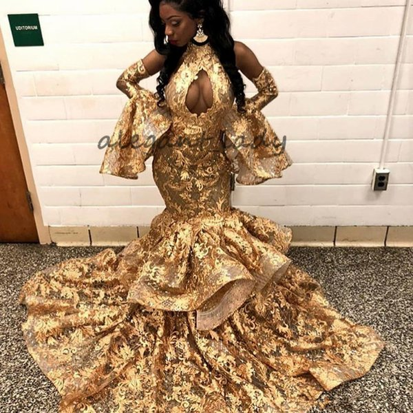 2018 Gold Lace Prom Dresses Crew Neckline Lace African Keyhole Ruffle Mermaid Evening Dresses Gowns Modest Yousef Aljasmi