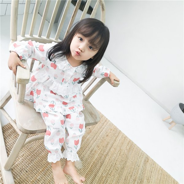 girl kids sleeping clothing sets long sleeve round collar 100% cotton flower print top shirt +long pants spring fall girl sleeping clothing