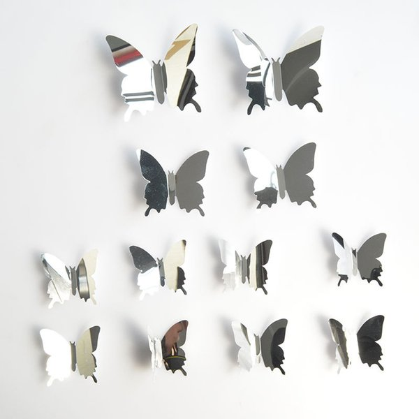 12Pcs 3D Mirror Effect Butterfly Wall Sticker Art Decor Decals for Home Decoration or Party Decoration