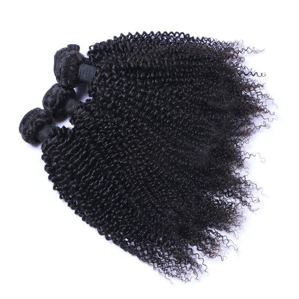 Malaysian Kinky Curl 3 Bundles / lot Human Virgin Hair Weaves Natural Black Color 100g/Bundle Double Weft Hair Extensions