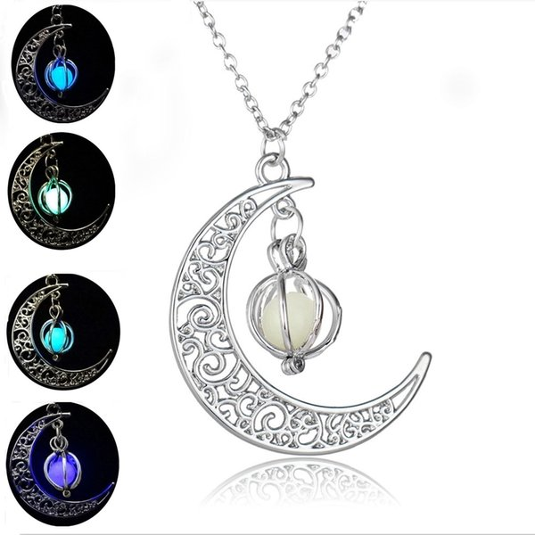 Wholesale- Glow In the Dark Pendant Necklaces For Women Silver Plated Chain Long Night Moon Necklaces Women Fashion Jewelry Necklaces