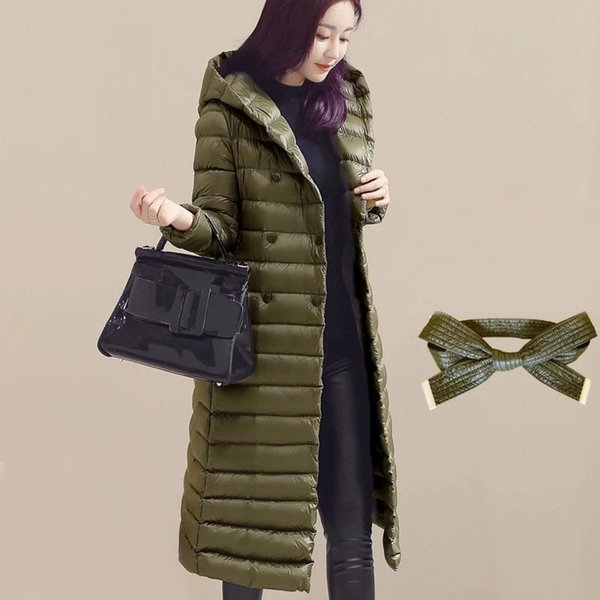 2019 2018 Autumn Winter Women Duck Downs Jacket Parkas Sashes Long Down Coat Ladies Ultra Light Outerwear Hooded Coats Plus Size A881