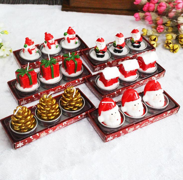 Candela di cera 3 Candele di Natale con Santa House Snowm a forma di candele profumate Wedding Party Candle Decor luce SN1529