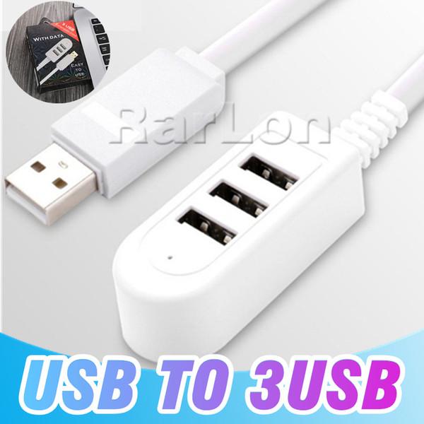 Nouveau Design 3 USB Hub Extension Cordon Charge Le Transfert De Données 30CM 120CM Câble USB Pour Samsung S9 Note8 iphone X Avec Le Paquet De Détail