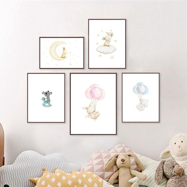 Cartoon Bunny Canvas Painting Wall Picture Art Print , Cute Animals illustration Koala Print Poster Baby Room Nursery Art Decor