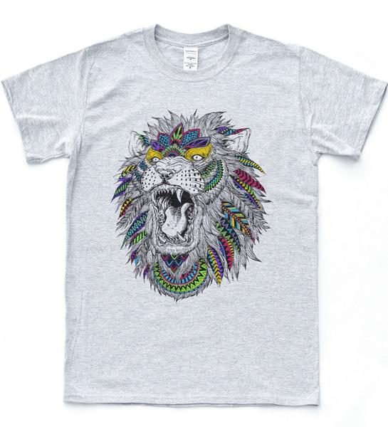 Rainbow Lion Tattoo T-shirt Roar Ink Religion Scroll Tee Hipster Vintage Top Cartoon t shirt men Unisex