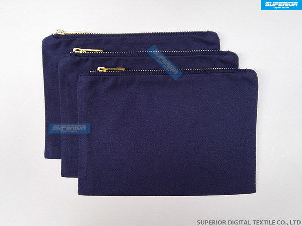 Beautiful And Durable Navy 12oz Cotton Canvas Cosmetic Bag Matching Navy Metallic Gold Zipper And Navy Lining 7x10 Inch 50pcs/lot