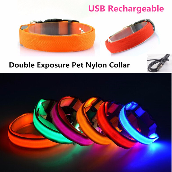 FG02 USB Rechargeable Pet Led Collar Double exposure Nylon Collar Puppy dogs Cats light-emitting LED luminous Safety