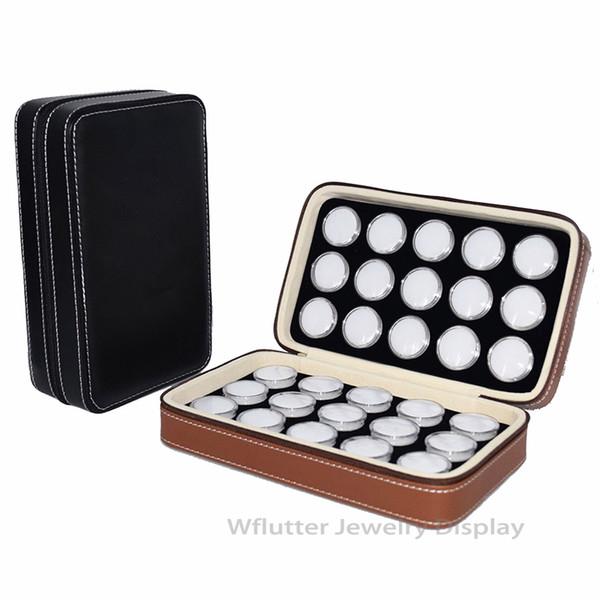Bolso de diamantes de viaje de cuero de moda Colgante de exhibición Caja Ziplock Caja de piedras preciosas Bolsa de almacenamiento de piedra Dentro de 30 celdas Caja de gemas redonda