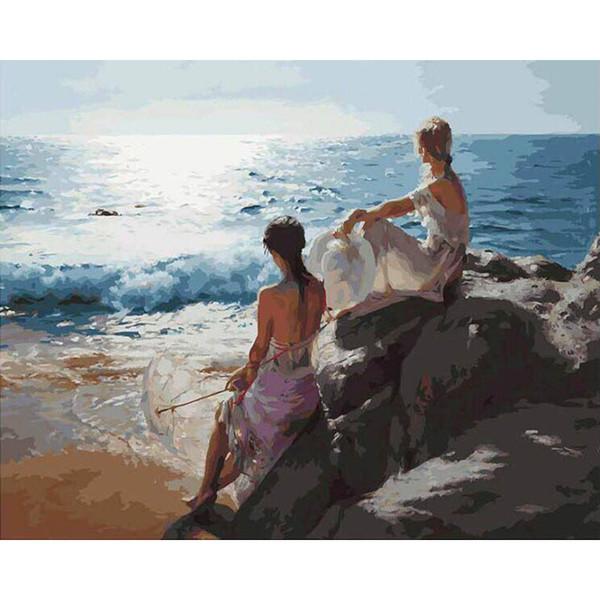 Bilder nach Zahlen Sea Goddess Beautiful Girl Malen nach Zahlen auf Leinwand Home Decoration Poster Leinwand Gemälde