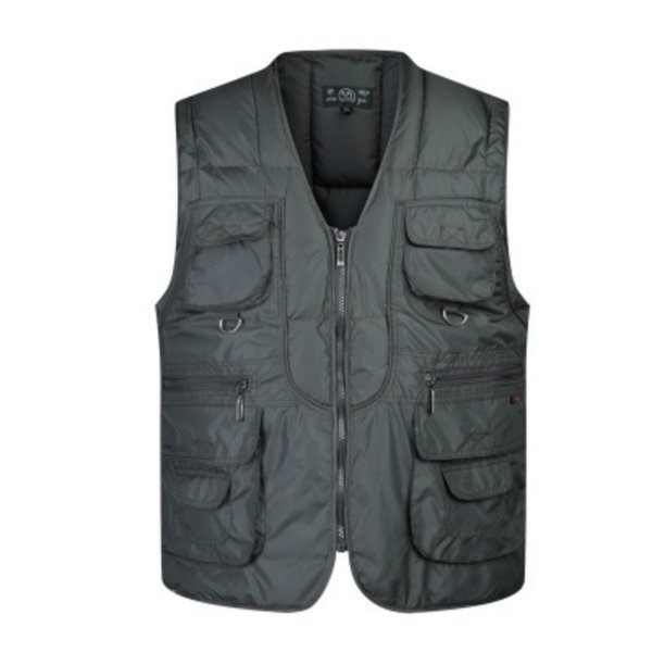Thicken Cotton Vest Men Multi Pockets Unloading Photographer 2018 Autumn Winter Male Sleeveless Jacket Outerwear Coats Plus Size