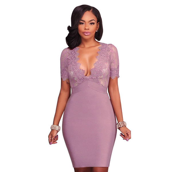 New womens ladies sexy low v plunge lace short sleeve Sweetheart Neck Lace Slim bodycon dress party clubwear glam midi bodycon dress