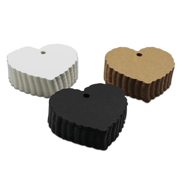2000Pcs 6cmX5.5cm Lace Heart Shaped Blank Kraft Paper Luggage Wedding Note DIY Price Hang Tag Jewelry Gift Event Label